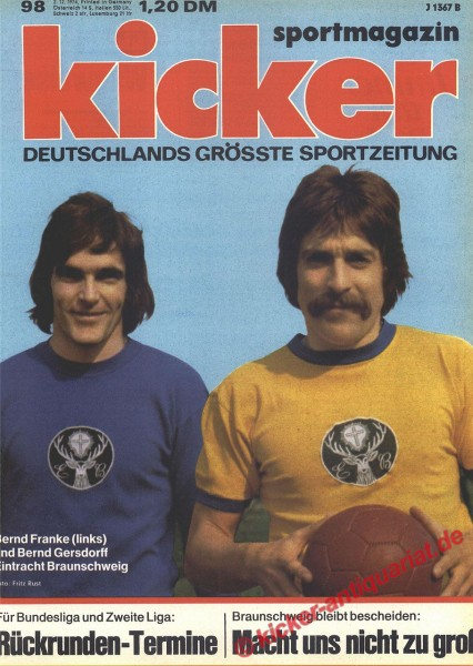 Kicker Sportmagazin Nr. 98, 2.12.1974 bis 8.12.1974