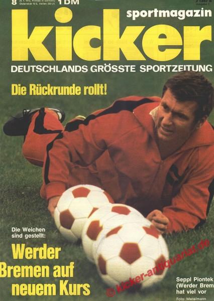 Kicker Sportmagazin Nr. 8, 24.1.1972 bis 30.1.1972