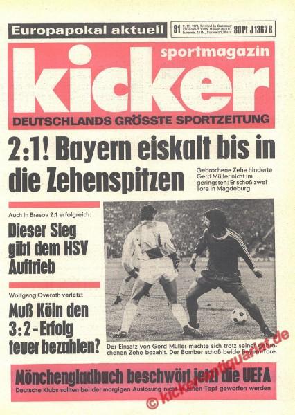 Kicker Sportmagazin Nr. 91, 7.11.1974 bis 13.11.1974