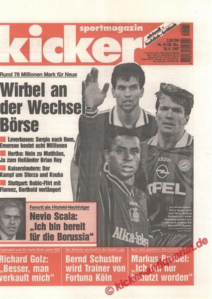 Kicker Sportmagazin Nr. 51, 19.6.1997 bis 25.6.1997