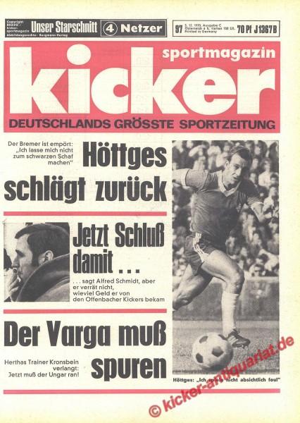 Kicker Sportmagazin Nr. 97, 3.12.1970 bis 9.12.1970