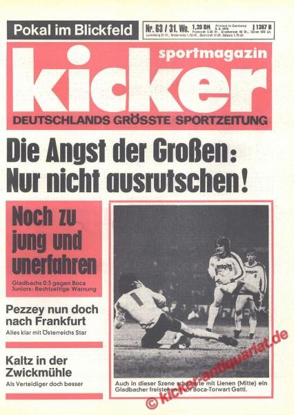 Kicker Sportmagazin Nr. 63, 3.8.1978 bis 9.8.1978