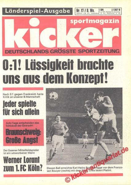 Kicker Sportmagazin Nr. 17, 24.2.1977 bis 2.3.1977