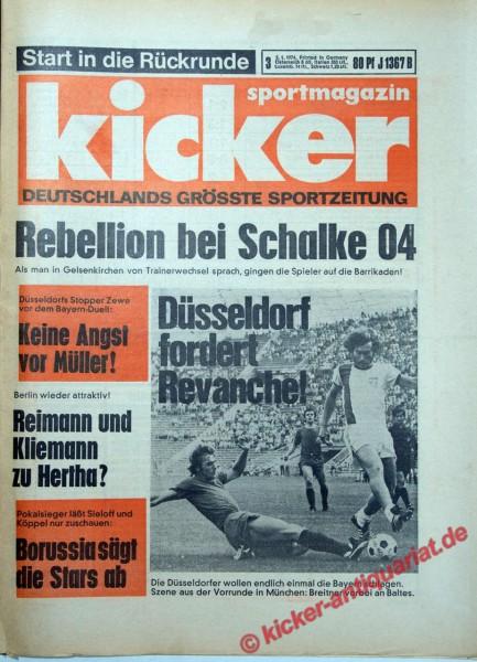 Kicker Sportmagazin Nr. 3, 3.1.1974 bis 9.1.1974