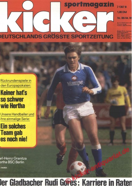Kicker Sportmagazin Nr. 88, 30.10.1978 bis 5.11.1978