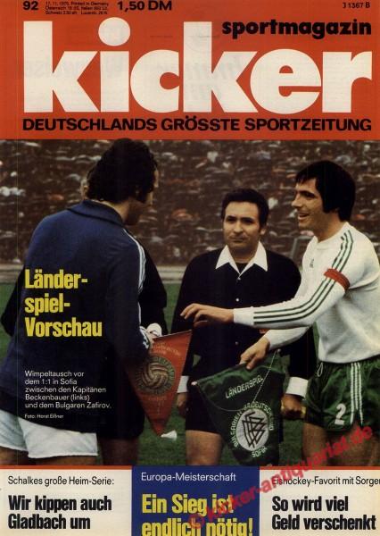 Kicker Sportmagazin Nr. 92, 17.11.1975 bis 23.11.1975