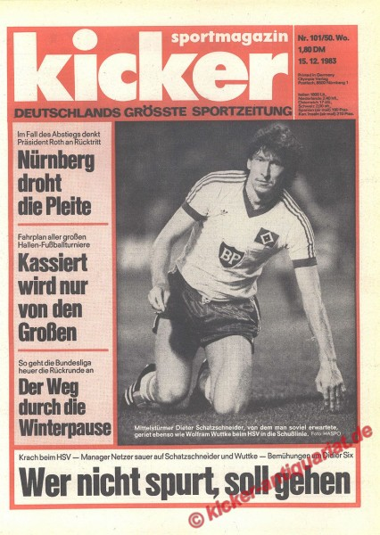 Kicker Sportmagazin Nr. 101, 15.12.1983 bis 21.12.1983