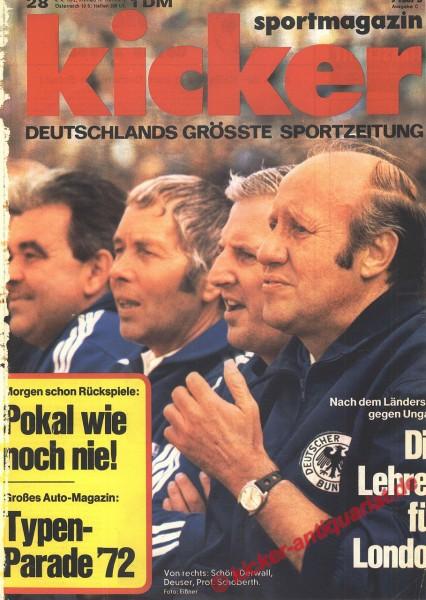 Kicker Sportmagazin Nr. 28, 4.4.1972 bis 10.4.1972