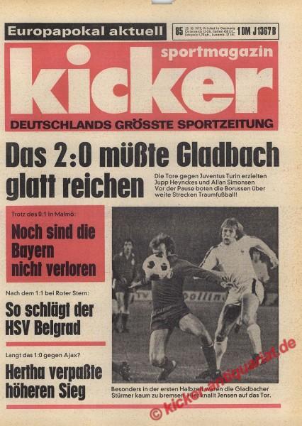 Kicker Sportmagazin Nr. 85, 23.10.1975 bis 29.10.1975