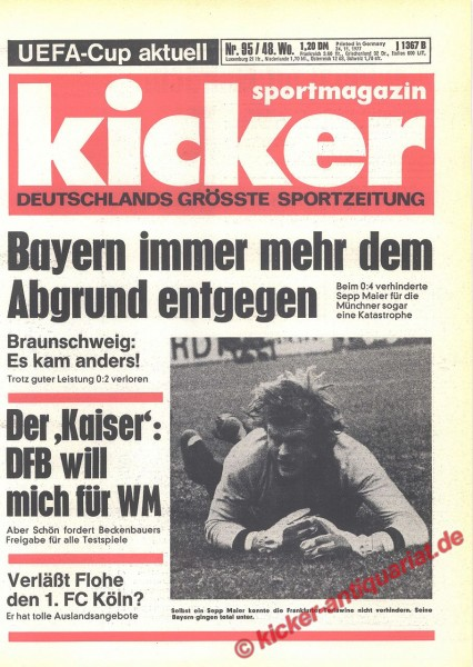 Kicker Sportmagazin Nr. 95, 24.11.1977 bis 30.11.1977