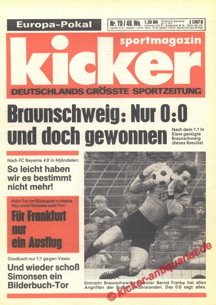 Kicker Sportmagazin Nr. 79, 29.9.1977 bis 5.10.1977