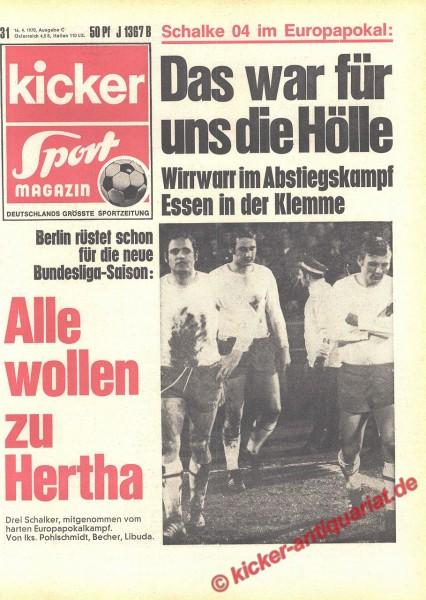 Kicker Sportmagazin Nr. 31, 17.4.1970 bis 23.4.1970