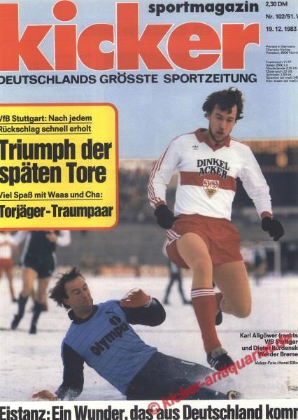Kicker Sportmagazin Nr. 102, 19.12.1983 bis 25.12.1983