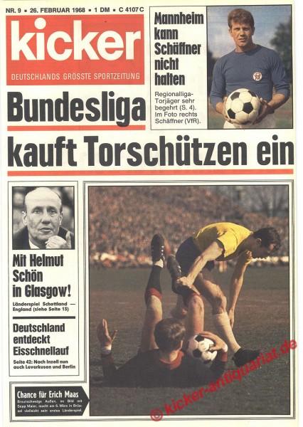 Kicker Sportmagazin Nr. 9, 26.2.1968 bis 3.3.1968