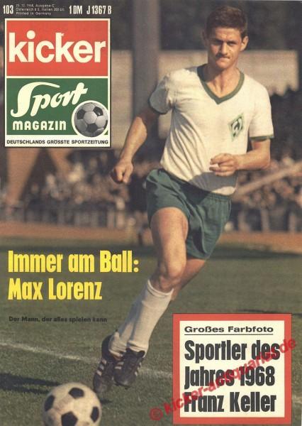 Kicker Sportmagazin Nr. 103, 23.12.1968 bis 29.12.1968