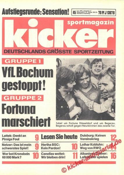 Kicker Sportmagazin Nr. 45, 3.6.1971 bis 9.6.1971