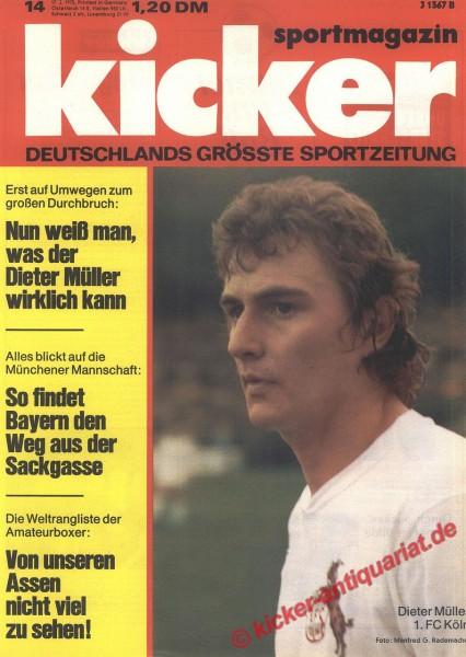 Kicker Sportmagazin Nr. 14, 17.2.1975 bis 23.2.1975
