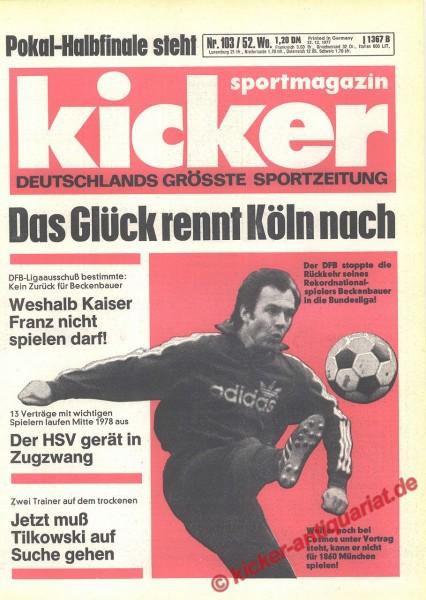 Kicker Sportmagazin Nr. 103, 22.12.1977 bis 28.12.1977