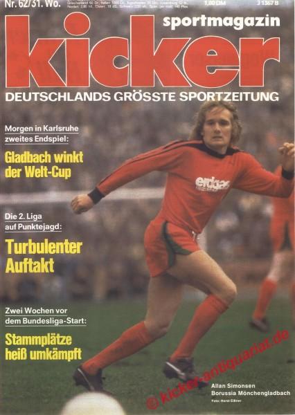 Kicker Sportmagazin Nr. 62, 31.7.1978 bis 6.8.1978