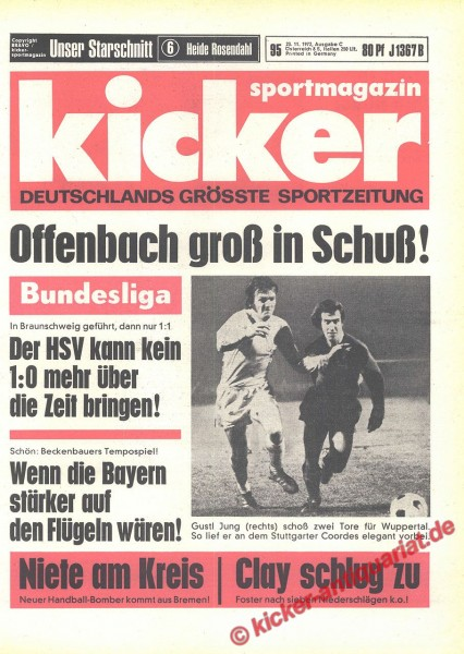 Kicker Sportmagazin Nr. 95, 25.11.1972 bis 1.12.1972