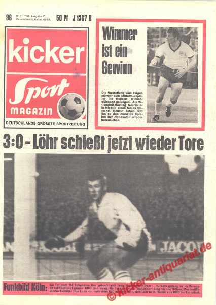Kicker Sportmagazin Nr. 96, 28.11.1968 bis 4.12.1968