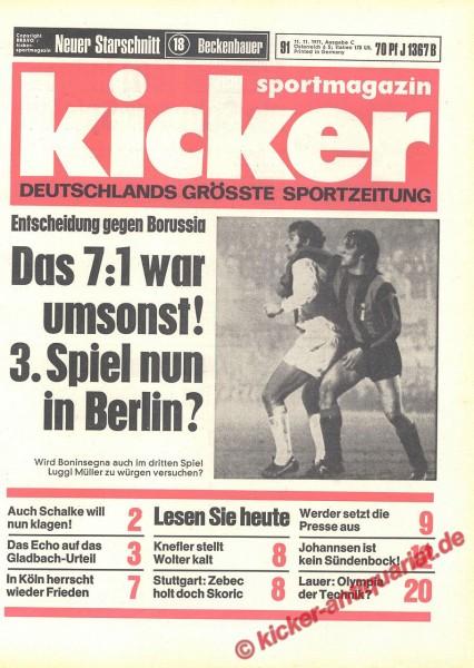 Kicker Sportmagazin Nr. 91, 11.11.1971 bis 17.11.1971