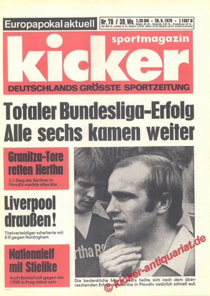 Kicker Sportmagazin Nr. 79, 28.9.1978 bis 4.10.1978