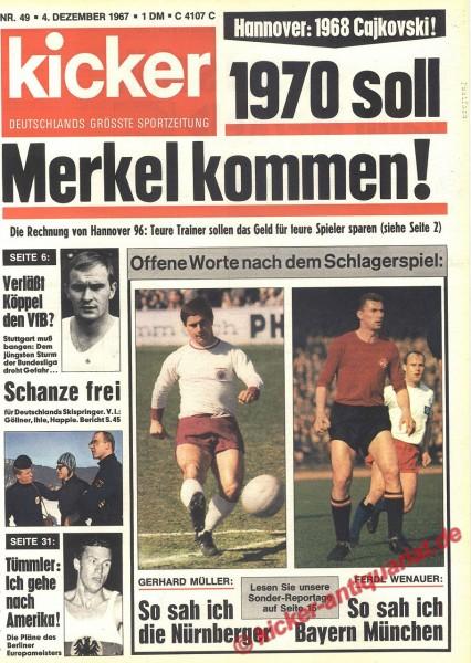 Kicker Sportmagazin Nr. 49, 4.12.1967 bis 10.12.1967