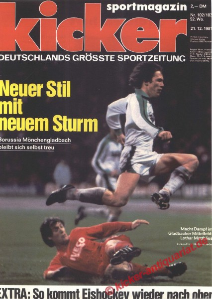 Kicker Sportmagazin Nr. 102, 21.12.1981 bis 27.12.1981
