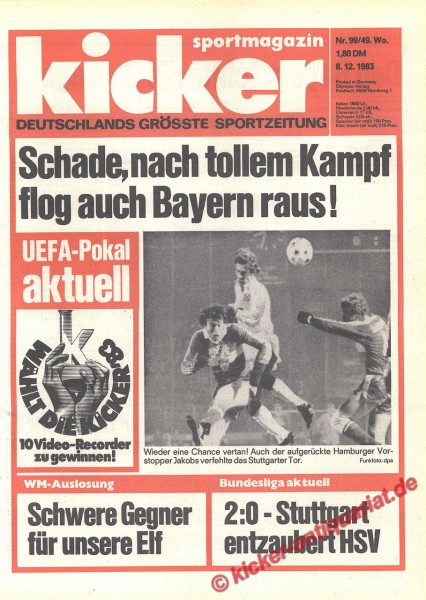 Kicker Sportmagazin Nr. 99, 8.12.1983 bis 14.12.1983