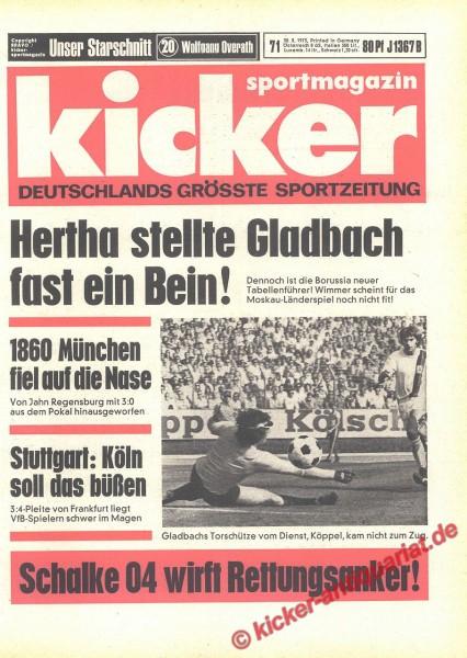 Kicker Sportmagazin Nr. 71, 30.8.1973 bis 5.9.1973