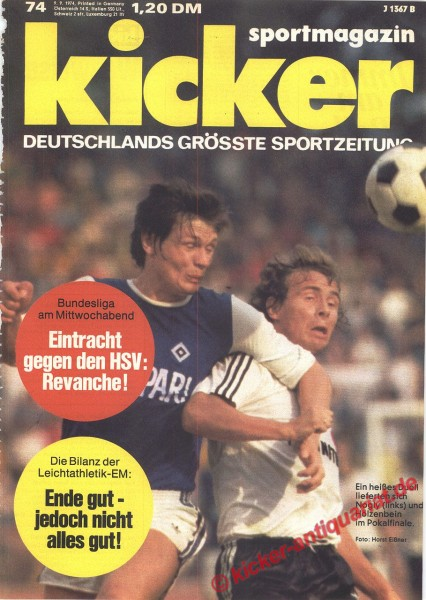 Kicker Sportmagazin Nr. 74, 9.9.1974 bis 15.9.1974
