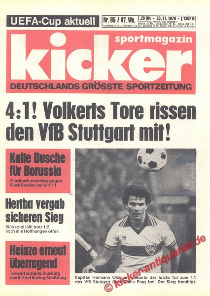Kicker Sportmagazin Nr. 95, 23.11.1978 bis 29.11.1978