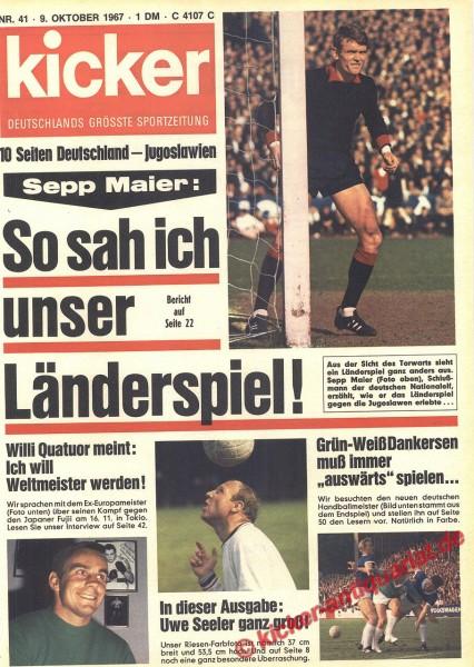 Kicker Sportmagazin Nr. 41, 9.10.1967 bis 15.10.1967
