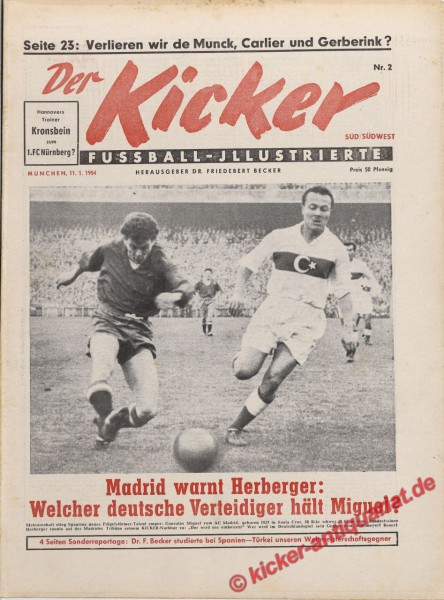 Kicker Nr. 2, 11.1.1954 bis 17.1.1954