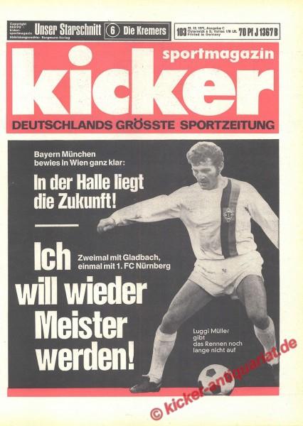 Kicker Sportmagazin Nr. 103, 22.12.1971 bis 28.12.1971