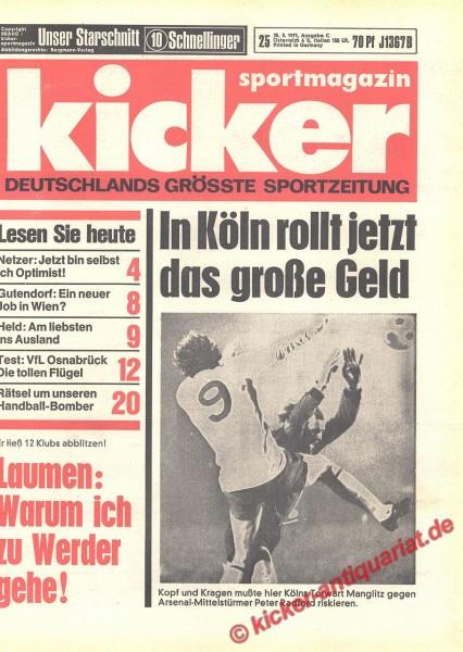 Kicker Sportmagazin Nr. 25, 25.3.1971 bis 31.3.1971