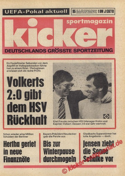 Kicker Sportmagazin Nr. 95, 27.11.1975 bis 3.12.1975