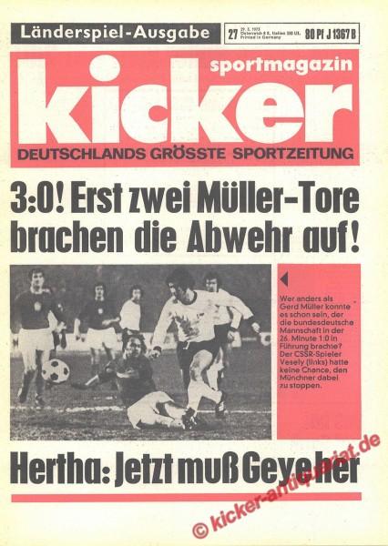 Kicker Sportmagazin Nr. 27, 29.3.1973 bis 4.4.1973