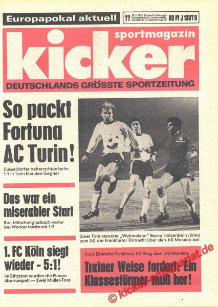 Kicker Sportmagazin Nr. 77, 19.9.1974 bis 25.9.1974