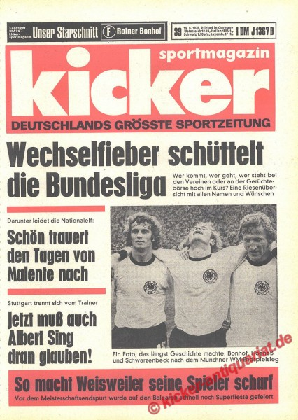 Kicker Sportmagazin Nr. 39, 15.5.1975 bis 21.5.1975