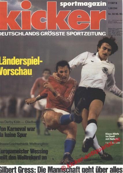 Kicker Sportmagazin Nr. 92, 13.11.1978 bis 19.11.1978