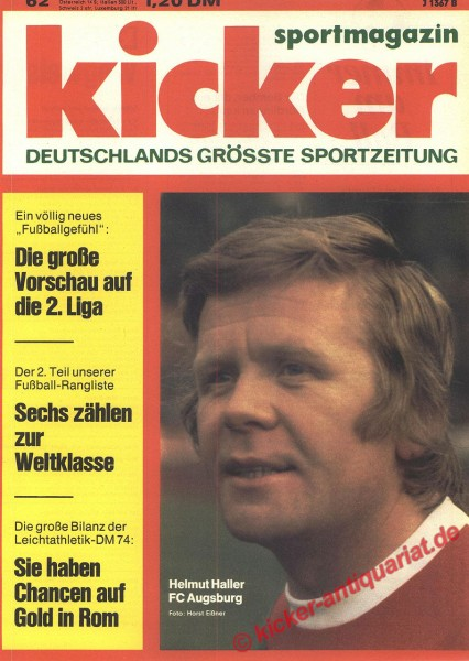 Kicker Sportmagazin Nr. 62, 29.7.1974 bis 4.8.1974