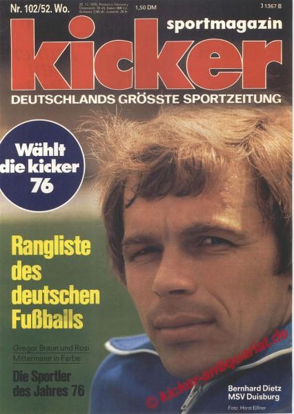 Kicker Sportmagazin Nr. 102, 20.12.1976 bis 26.12.1976