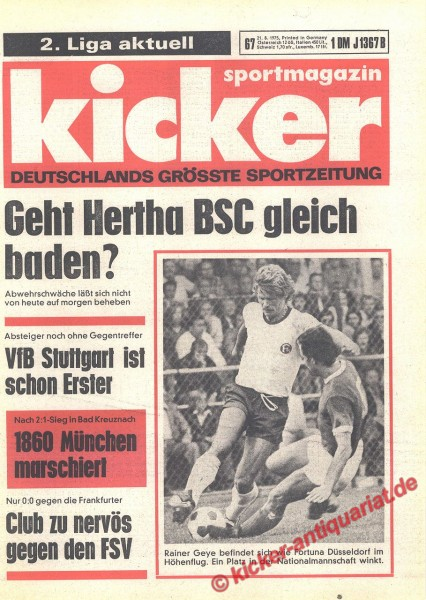 Kicker Sportmagazin Nr. 67, 21.8.1975 bis 27.8.1975