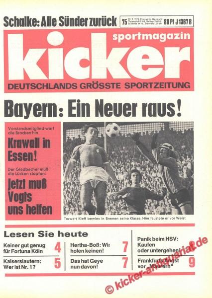 Kicker Sportmagazin Nr. 75, 13.9.1973 bis 19.9.1973