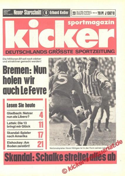 Kicker Sportmagazin Nr. 23, 16.3.1972 bis 22.3.1972