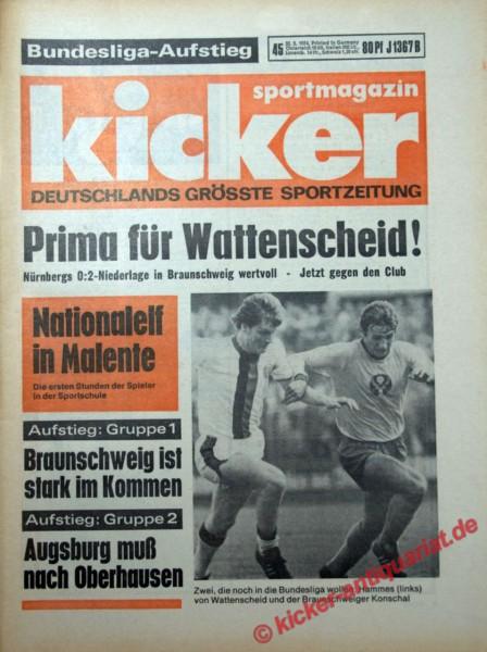 Kicker Sportmagazin Nr. 45, 30.5.1974 bis 5.6.1974