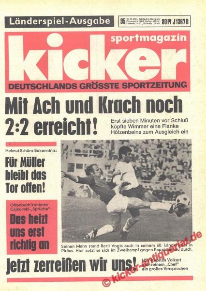 Kicker Sportmagazin Nr. 95, 21.11.1974 bis 27.11.1974
