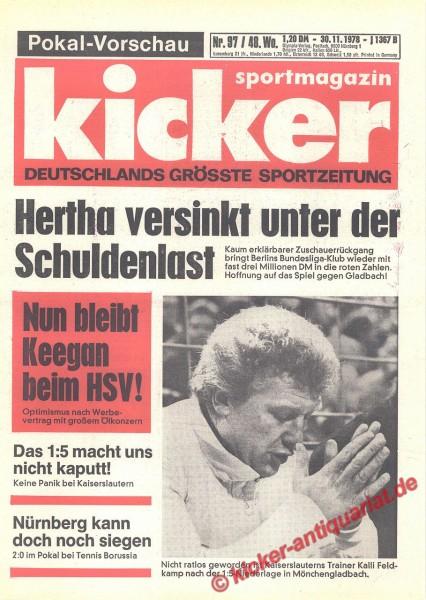 Kicker Sportmagazin Nr. 97, 30.11.1978 bis 6.12.1978